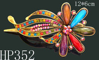 Women's Party Alloy fashion women vintage hair jewelry Zinc alloy rhinestone flowers hair clips hair accessories Free shipping 12pcs lot Mixed colors HP352