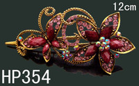 hot pink butterfly - hot sell Vintage Zinc alloy rhinestone Butterfly hair clip Hair Jewelry Accessories Mixed colors HP354