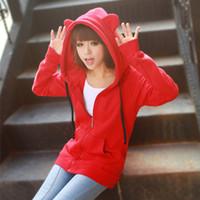 Cardigan bear ears clothing - Korean Women Clothing Hoodies with Ears Bear Long sleeve Zipper UP Sweatshirts Red Blue Colors Fre