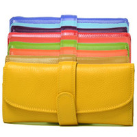 Wholesale 15 colors Soft Genuine Real leather Lady s Wallet Purse Clutch leather
