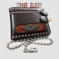 Men aluminum wallet orange - bq013 Fashion mens wallets Rivets Punk Leather Wallet Purse with chain genuine