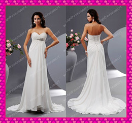 Wholesale Cheap Chiffon Empire Sweetheart Chapel Maternity Beach Wedding Dresses Sexy Beaded Bridal Gowns