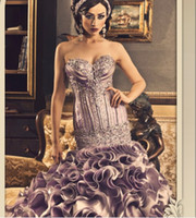 Wholesale 2014 Prom Dresses Sexy Beading Sweetheart Satin Ruffles Rhinestones Ball Gown Evening Dresses