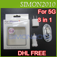 Wholesale For iPhone5 in Pin USB Data Sync Cable Mini Car Home US EU Wall Charger iphone G White