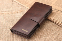 aluminum money clip - retro style long design mens wallet genuine cow leather wallets men purse money clips case