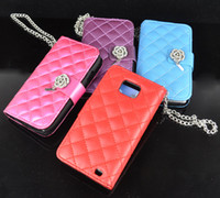 Wholesale 25pcs Wallet Rhinestone Buckle Leather Case Cover For Samsung Galaxy S2 SII i9100