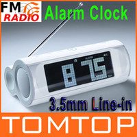 Wholesale LCD Display FM Radio Speaker Alarm Clock mm Line in White Music Player V462