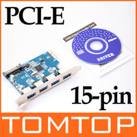 Wholesale 4 Port SuperSpeed USB PCI E PCI Express Card pin SATA Power Connector C1551