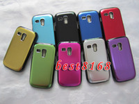 For Samsung Plastic  Brushed bling Wiredrawing Aluminum Hard case skin cases for Samsung Galaxy S III mini I8190 100pcs