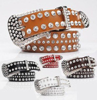 Wholesale cow leather rhinestone belt MixedLot western lady rhinestone belt genuine