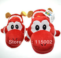 Wholesale pair Super Mario Red Yoshi Plush Slippers inch