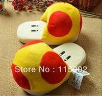 Wholesale Super Mario Brothers Orange Mushroom Plush Slipper Gold mushroom slipper Golden slippers toy