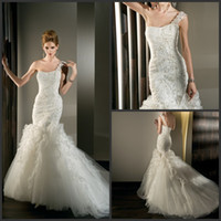Reference Images One-Shoulder Tulle 2013 Fall Elegant Mermaid One Shoulder Wedding Dresses Ruffles Lace Up Bridal Gown Demetrios 531