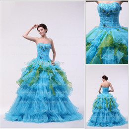 Wholesale Sexy Sweetheart Organza Blue Ruffles Ball Gown Quinceanera Dresses With Applique And Beadings DH4132