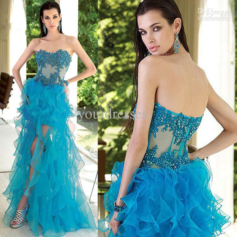 2013 See Through Blue Crystal Appliques Hi Lo Prom Dresses Women ...