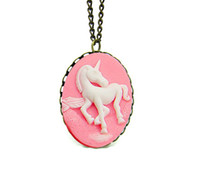 Celtic cameo necklace - cameo necklace unicorn necklace pendant resin fairy tale gypsy mystical pink horse necklace NW773
