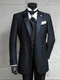 Wholesale Custom Made Black One Button Groom Tuxedos Peak Satin Lapel Best man Groomsman Men Wedding Suits Bridegroom Jacket Pants Tie Vest G628