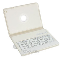 Wholesale Silicon stand Rotate Leather Case REMOVABLE Wireless Bluetooth Keyboard case For iPad mini