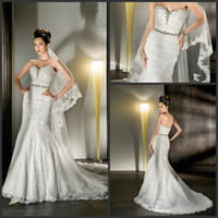 Reference Images Sweetheart Lace 2013 Fall Demetrios Wedding Dresses Mermaid Lace Applique Beaded Sash Court Train Bridal Gown 1422