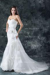 Wholesale 2013 DHgate Sweetheart Chapel Train Organza Sash Flowers Beaded Sheath Wedding Dresses BO000109
