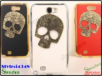 Wholesale For Samsung note n7100 Skull Protective Hard Electroplate Case Skeleton Cover iGDS i4348