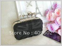 Shoulder Bags PU Handbags Free Shipping! Fashion Skull bags, rings designer clutches, England flag Evening Bags, handbags wome