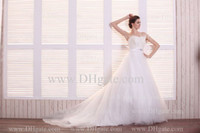 Sexy feather balls - 2013 Strapless Tulle Ruffles With Feather Neckline Sash Beaded Ball Gown Wedding Dresses DH4065