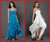 Wholesale Sexy Spaghetti strap A line Chiffon White High Low Party Prom Homecoming Dresses Formal Dress Gowns