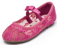 Wholesale Girl #26, #27, #28, #29, #30, #31, #32, #33 Charming Shoes Girls Shoes Hot Pink Color Special Lace Pattern Antibacterial Children's Dress Shoes