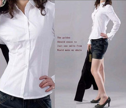 Wholesale Autumn Korea OL White Business Women Shirts SlimFit Women Cotton Shirt