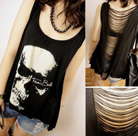 Wholesale Skull Heads Hollow T Shirt Backless Tassels Tank Top Vest Women Girl