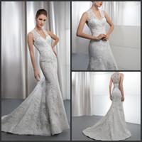 Reference Images V-Neck Tulle 2013 Elegant Mermaid Demetrios Wedding Dresses Lace Applique Chapel Train Sheer Back Bridal Gown