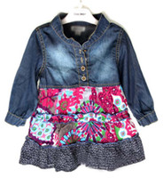 Wholesale Fashion Flower Dresses Shirt Dress Kids Cute Denim Dresses Children Clothing Girls Blue Jean Skirt