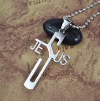 Wholesale Silver Tone High Polished Stainless Steel Jesus Cross Charm Pendant Necklace W free Chain cm Long