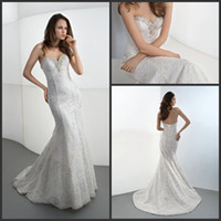 Reference Images Sweetheart Lace New Sexy Lace Mermaid Sweetheart Demetrios Wedding Dresses Beaded Lace Up Court Train Bridal Gown