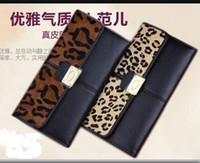 Wholesale new stitching black horsehair leopard long section cowhide leather wallets holders