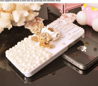 Wholesale White pumpkin Artificial pearl mobile phone case for iPhone s or cover for iphone4