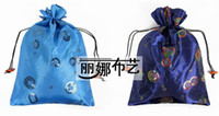 Wholesale Fashion Sequins Satin Fabric Drawstring Shoe Dust Bag with Lining Storage Pouch Covers pack mix color