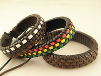 Wholesale Brand new Stylish Genuine Leather Wristband Bracelets Unisex Leather Jewelry
