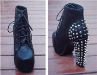 Wholesale Cool Shoes Lady Short Boots PU Seude Leather Rivets High Heel Rivets Low Price
