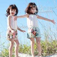 Baby girl kids vintage flower floral jumpsuit jumpsuits romp...