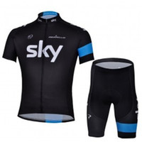 Wholesale 2013 SKY cycling clothing of short new black sky team Short Sleeve Cycling Jersey and Short kit