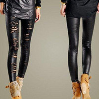 Wholesale New Womens Lady Ripped Torn Sexy CutOut Stretch Faux Leather Legging Pants Black