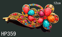 Barrettes & Clips Women's Party fashion women vintage hair jewelry Zinc alloy rhinestone flowers hair clips hair accessories Free shipping 12pcs lot Mixed colors HP359