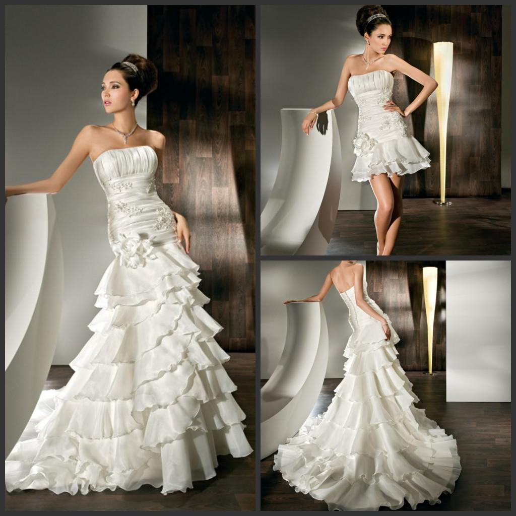 2013 beach strapless mermaid detachable train wedding for Short wedding dress with removable train