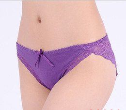 Wholesale Hot Women Cotton Back Lace Bikini Sexy Panties Briefs Cozy Underwear M L XL Six Colors