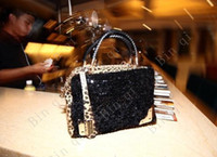 Wholesale _ new style Europe fashion shining black handbag ladies handbag