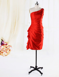 Wholesale 2013 Red One Shoulder Ruched Sheath Stretch Satin Short Mini Party Dresses Cocktail Dresses