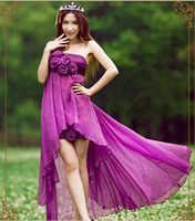 Wholesale 2013 Purple rose Chiffon Sequin empire strapless High low Bridesmaid cocktail evening party dress good quality