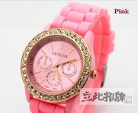 Fashion battery green eye - Unisex Men Women s New Geneva Diamond watch fashion rubber stone watches with eyes